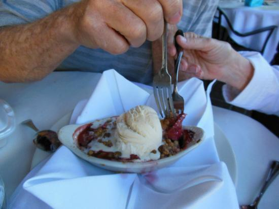 Bootleggers Old Town Tavern & Grill: Fruit crisp comes warm  with vanilla ice cream -