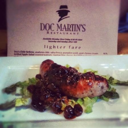 Doc Martin's Restaurant: Grilled Rattlesnake Rabbit Sausage with cherry sauce