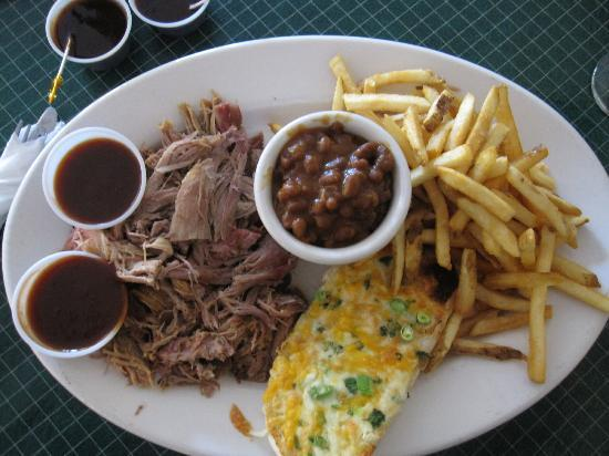 Jaspers Smokehouse & Steaks: My order of pulled pork with cheesy garlic break, beans, fries