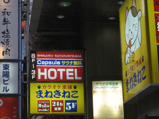 Shinjuku Kuyakushomae Capsule Hotel: Hotel entrance.  Seperate from the hotel, there is a shemale and karakoe bar in the same buildin