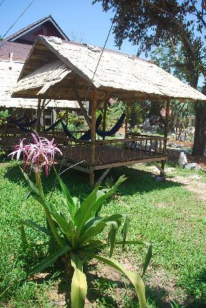 Phongsavanh Resort: hammock huts in the garden