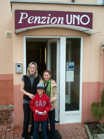 Penzion UNO: Owner Hana, my wife and son