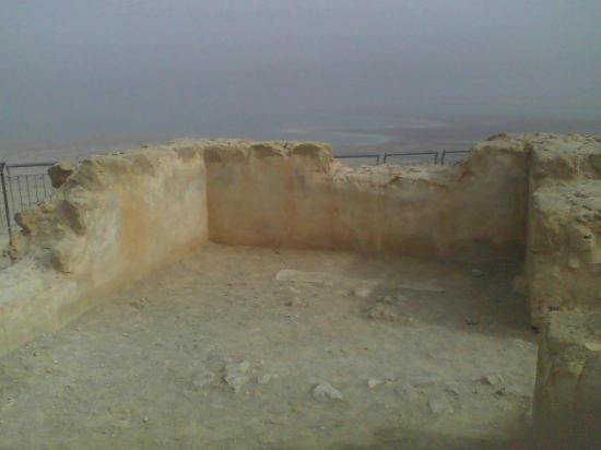 Dead Sea Region, Israel: Dalle mura di Masada, il Mar Morto in lontananza