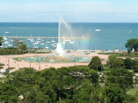 The Congress Plaza Hotel and Convention Center: Fountain in Grant Park viewed from Floor 12