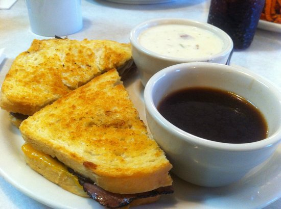 Sunshine Cafe: Gold miner sandwich, dip, and clam chowder