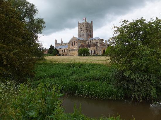 Tewkesbury Abbey: Abbey from water meadow