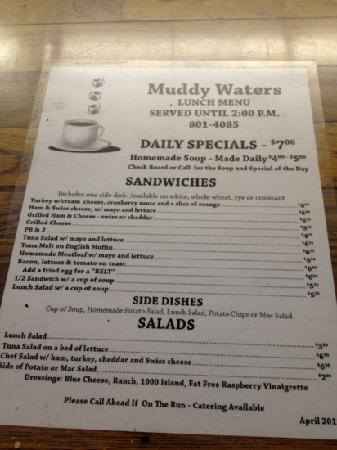 Muddy Waters: lunch menu