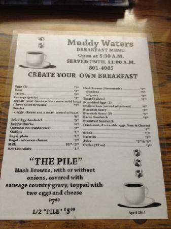 Muddy Waters: breakfast menu