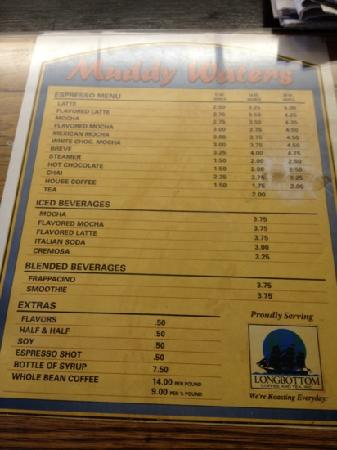 Muddy Waters: coffee menu