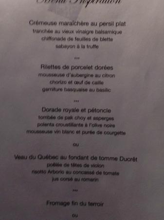 Le Saint-Amour: Menu Inspiration
