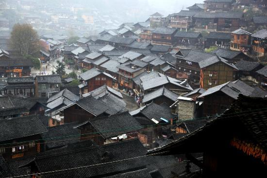 Xijiang Miao Nationality Village: View from half-way up the hill