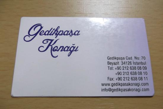 Hotel Gedik Pasa Konagi: his card