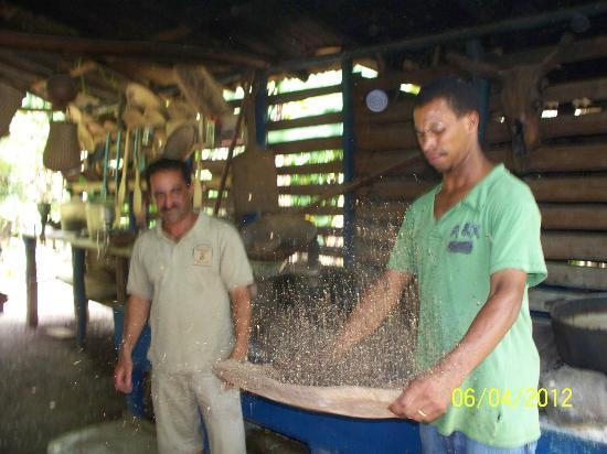 Runners Adventures - Santo Domingo City Tour: seperating the coffee beans from the shell