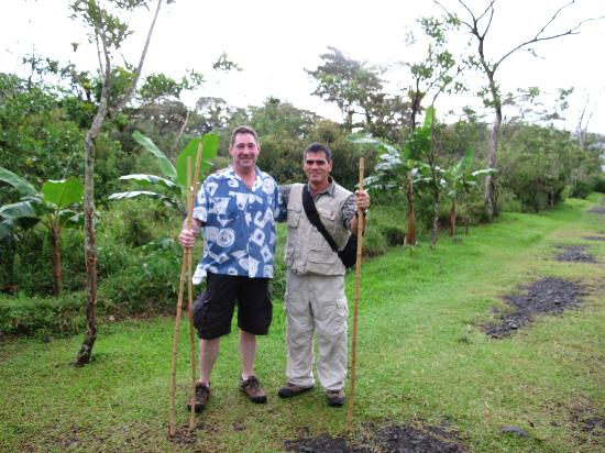 Arenal Volcano riding tour: Pioneers Juan and Ed with their snake sticks