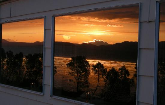 Chuckanut Manor Restaurant: on table was on the other side of this window, reflecting our view.
