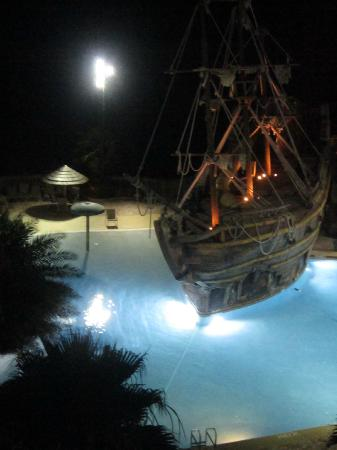Pirate ship by night from our balcony