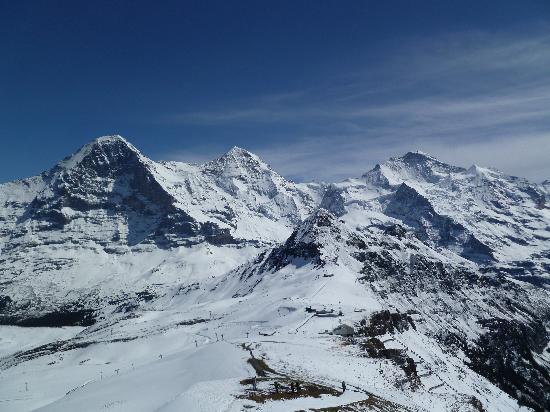 """Maennlichenbahn Grindelwald: """"Views of the three famous mountains from Maennlichen viewing area"""""""