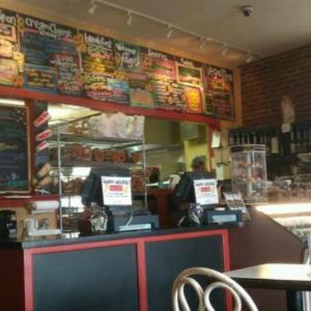 Yorgo's Bageldashery : Chalkboard menu and racks and racks of bagels