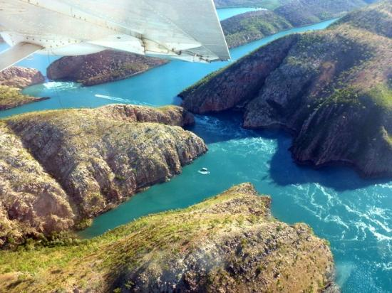 Horizontal Falls: aerial shot I took as we came in for a landing in the seaplane