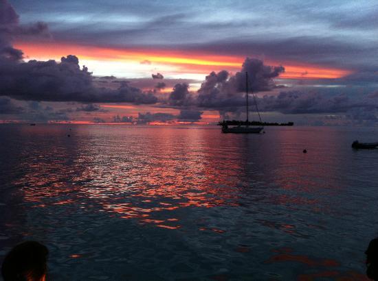 Bora Bora Yacht Club : Vue du Yacht Club Bar Restaurant in Bora Bora at sunset time