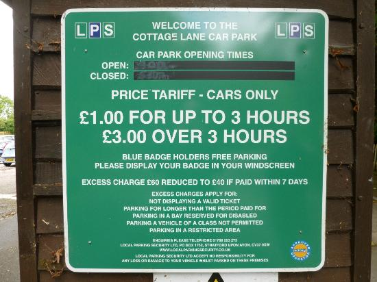 Anne Hathaway's Cottage & Gardens: Car park charges