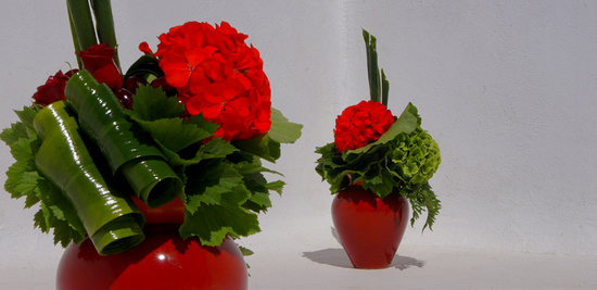Fabio Zardi Floral Design & Decoration: COMPARISON - Floral arrangement with red Geranium of Santorini, green Hydrangea, red Roses, cher