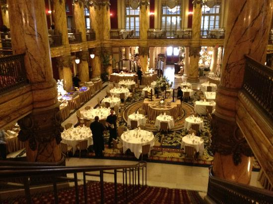 Sunday Champagne Brunch at the Jefferson Hotel: View of Rotunda setup for lunch