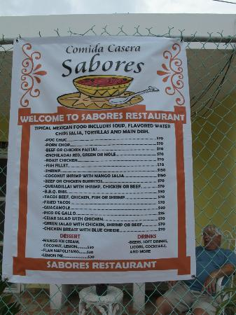 Sabores: Menu posted out front of restaurant