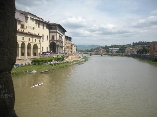 Hotel Europa: View down river of Arno River