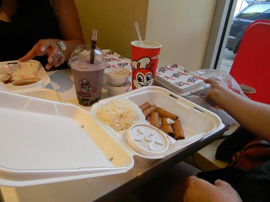 Jollibee: Lumpiang shanghai and white rice.