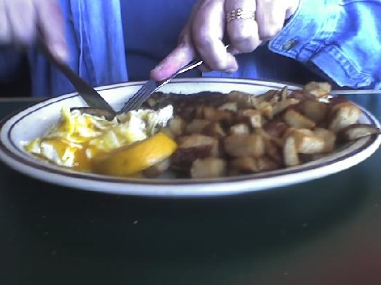 Riverside Cafe: plate # 2 basic eggs, sausage, potato and $1.00 more for Rye Bread
