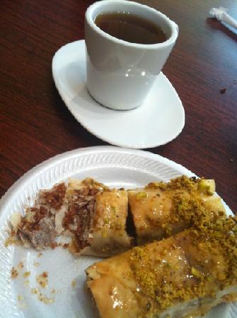 Sahara Cafe: Baklava and special hot tea.  I NEED more of this baklava!!