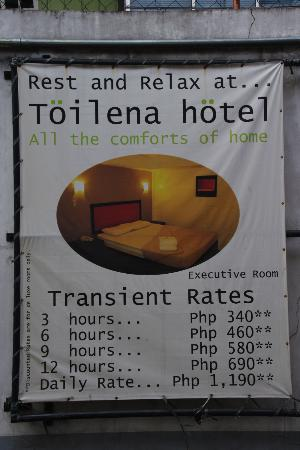 TOILENA room & board : current room rate for the various time periods
