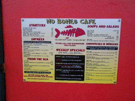 No Bones Restaurant St Croix Menu