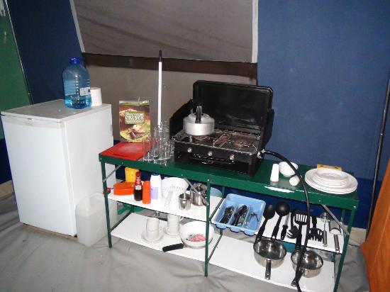 Rozel Camping Park: Kitchen area with everything you need - including fridge!