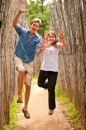 Honeydew Mazes: Lauren and Ross having fun in the maze