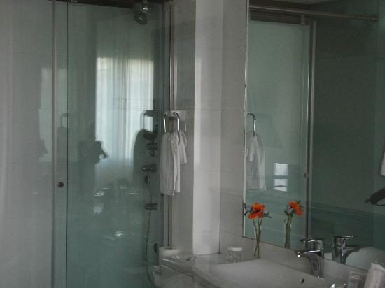 Hotel Sancho: A glass-bathroom in the single room