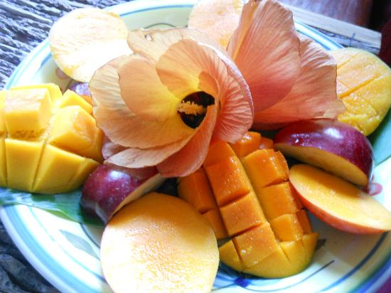 Crystals: Fresh fruit and flowers at breakfast each morning