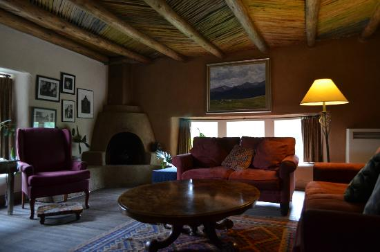"""Mabel Dodge Luhan House : The """"Rainbow Room"""" adjacent to the living room/lobby. Wi-fi available here."""