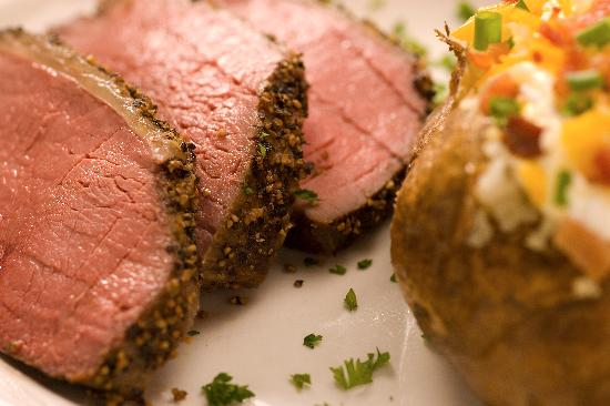 Hoffbrau Steak & Grill House: Pepper Smoked Sirloin and baked potato