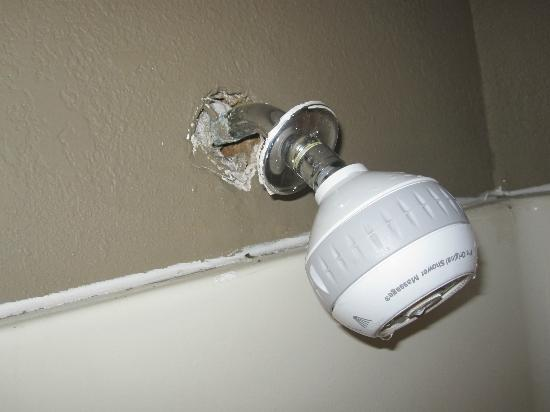 Super 8 Myrtle Beach/Ocean Front Area: the shower head is falling out of the wall