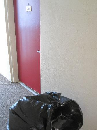 Super 8 Myrtle Beach/Ocean Front Area: trash bag sat outside our room all day
