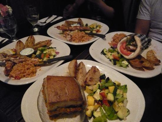 Balkan Restaurant: Top, left and right: Souvlaki; Bottom: Vegetable mousaka