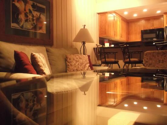 Aspen Square Condominium Hotel: parte de la salita y cocina