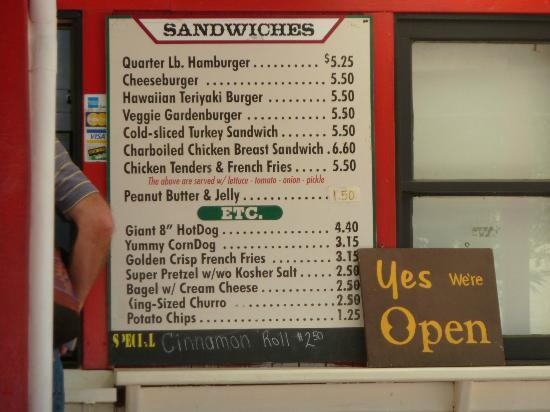Snack bar menu picture of roaring camp railroads santa for Snack bar menu