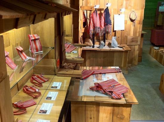 Klahowya Village in Stanley Park : Metis Artist Mark MiLan evolved Metis Sash Fashions at the Klahowya Village Barn