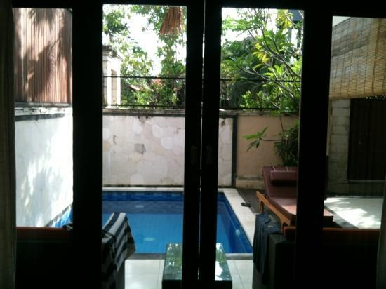 Surya Mas Villa: view to the private pool from downstairs bedroom