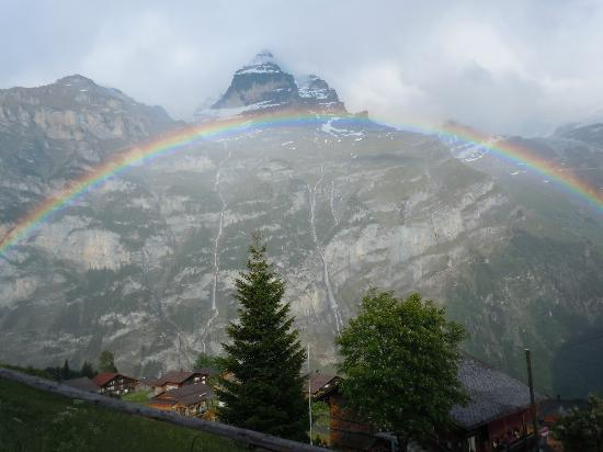 Mountain Hostel: View of Gimmelwald after returning from hike