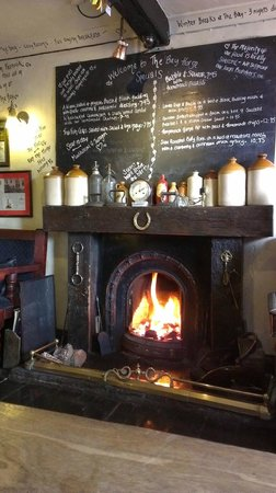 The Bay Horse: The welcoming fire, perfect for the British summer!