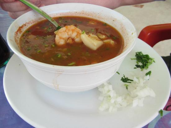 Las Panchas: close up of the most delicious seafood soup I have ever had.